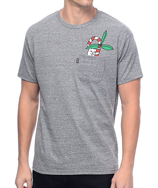 f66e554bf RIPNDIP Candy Cane Lord Nermal Heather Grey Pocket T-Shirt | Zumiez