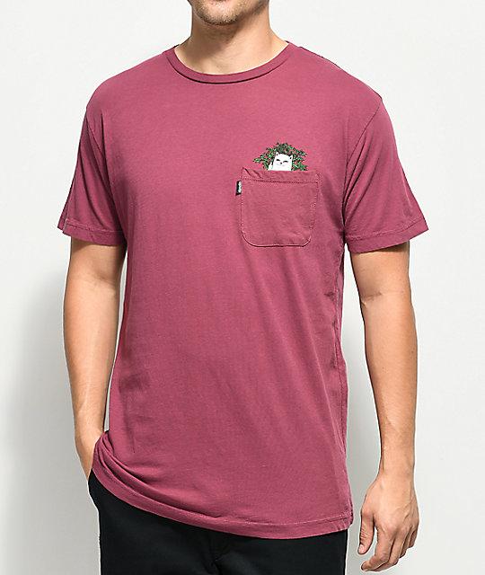 RIPNDIP Cat Nip Burgundy Pocket T-Shirt  14babd9c4387