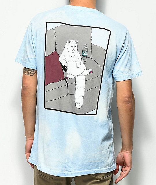 RIPNDIP Couch Potato Blue Mineral Wash T-Shirt