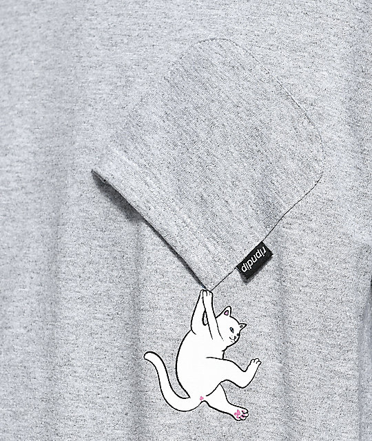 RIPNDIP Hang In There Heather Grey Long Sleeve Pocket T-Shirt