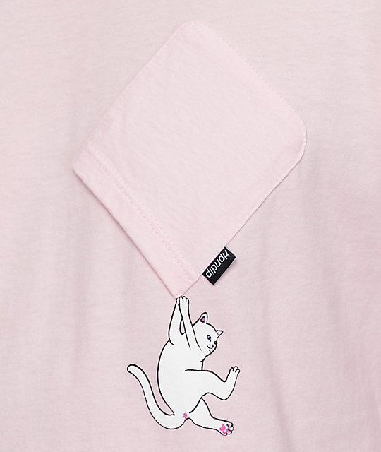 RIPNDIP Hang In There camiseta rosa con bolsillo