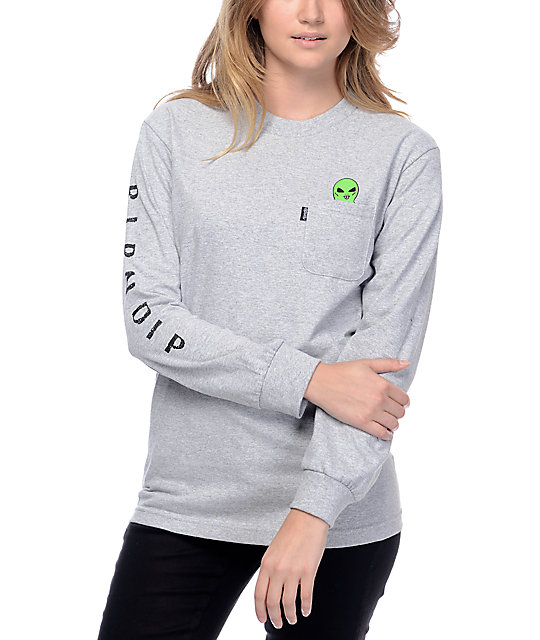 67b33e49d RIPNDIP Lord Alien Heather Grey Long Sleeve T-Shirt | Zumiez