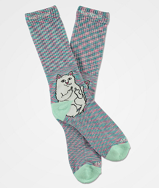 RIPNDIP Lord Nermal Mint Speckle Crew Socks