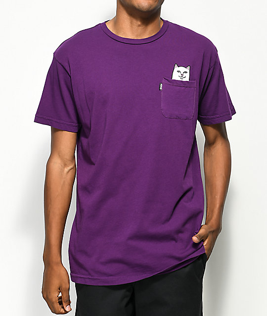 RIPNDIP Lord Nermal Plum Pocket T-Shirt