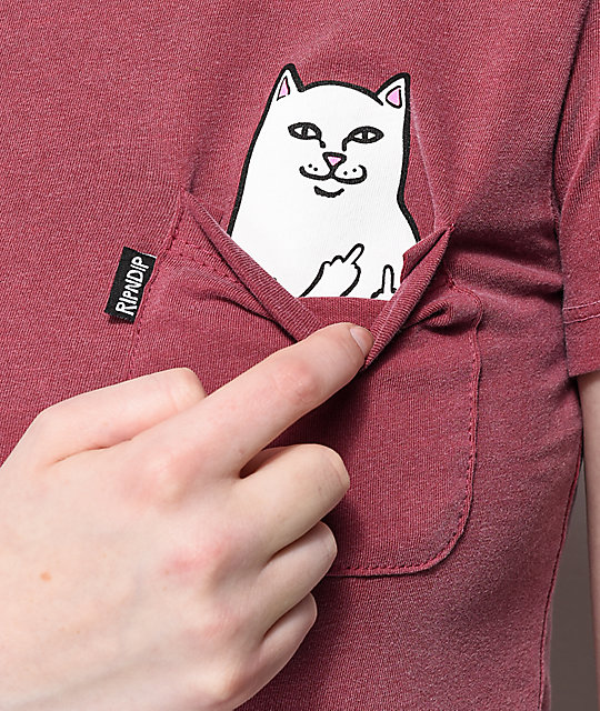 RIPNDIP Lord Nermal Pocket Burgundy Over Dyed T-Shirt