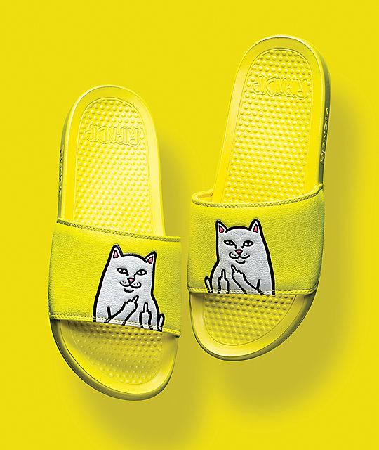 b850944755797 ... RIPNDIP Lord Nermal Safety Yellow Slide Sandals