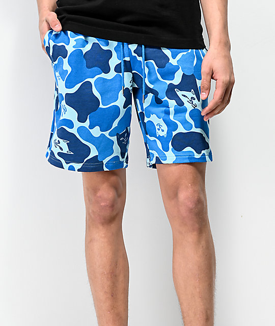 RIPNDIP Nerm Camo Blue Sweat Shorts
