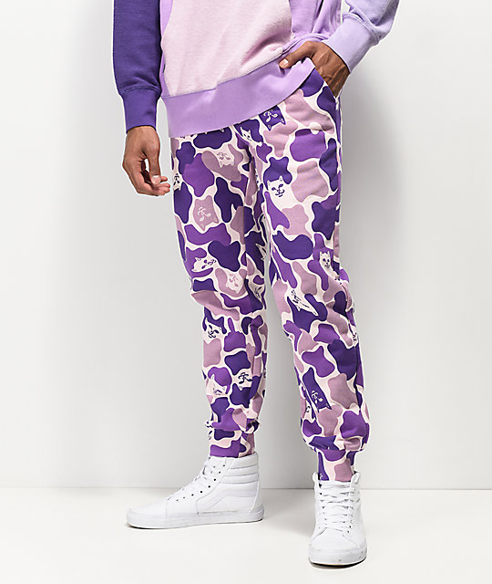 Ripndip Nermal Camo Purple Jogger Sweatpants by Ripndip