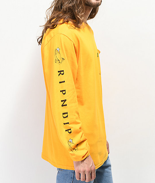 RIPNDIP Peeking Nermal Gold Long Sleeve T-Shirt
