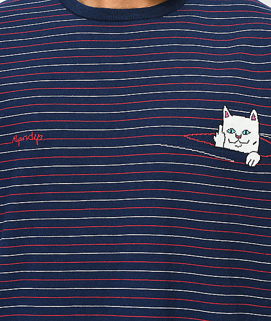 RIPNDIP Peeking Nermal Navy Stripe T-Shirt