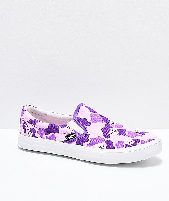 ripndip slip on purple nermal camo shoes zumiez