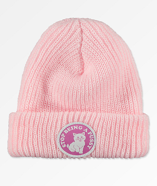 RIPNDIP Stop Being A Pussy Pink Beanie  425ba25584f