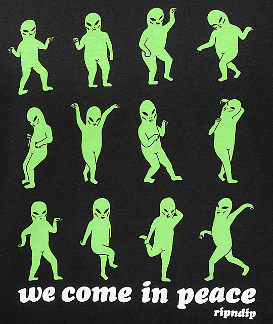 a1c45cf92 RIPNDIP We Come In Peace Black T-Shirt | Zumiez