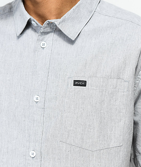 RVCA Arrows Heather Grey Short Sleeve Button Up Shirt
