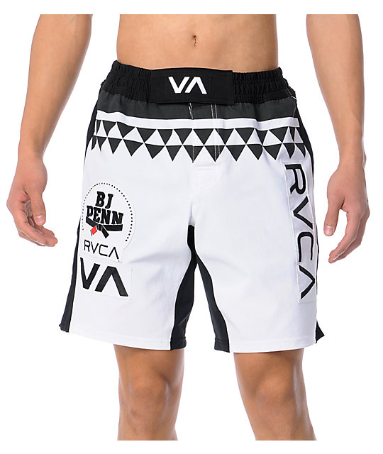 RVCA BJ Penn 21 White Stretch Shorts