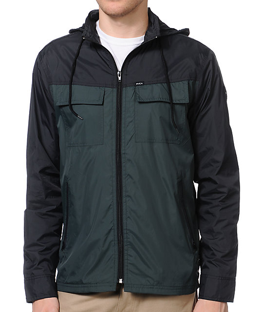 RVCA Bay Breaker Black & Green Windbreaker Jacket
