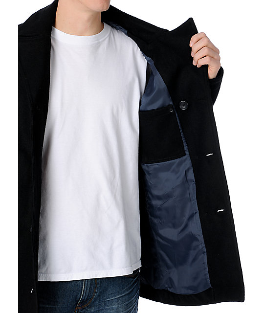 RVCA Bear Black Pea Coat