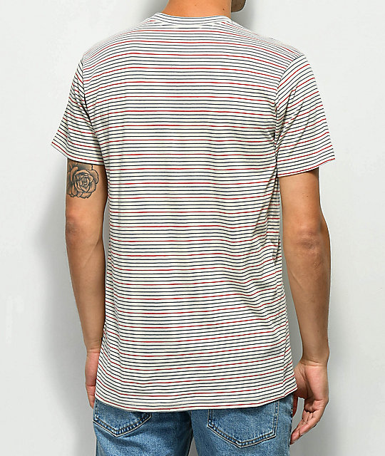 RVCA Benson Off-White, Red & Teal Stripe Knit T-Shirt