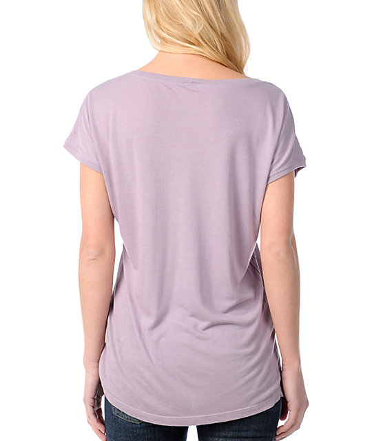 RVCA Big RVCA Light Pastel Purple Wide Scoop Neck Lunar T-Shirt