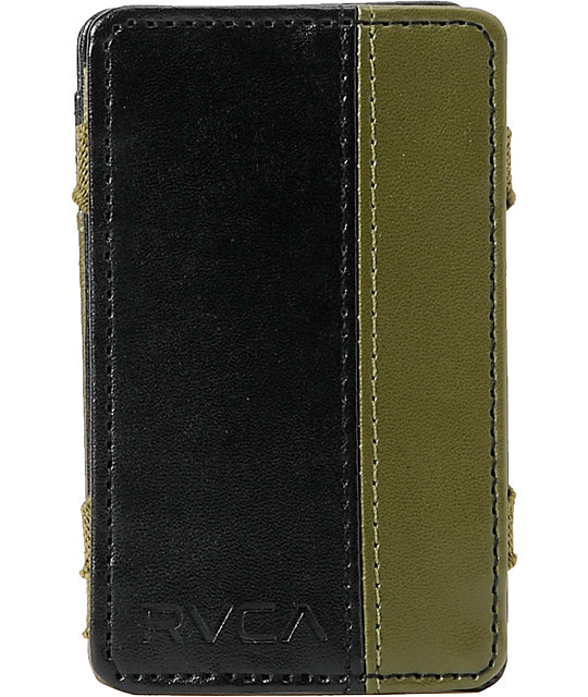RVCA Black & Olive Green Magic Wallet