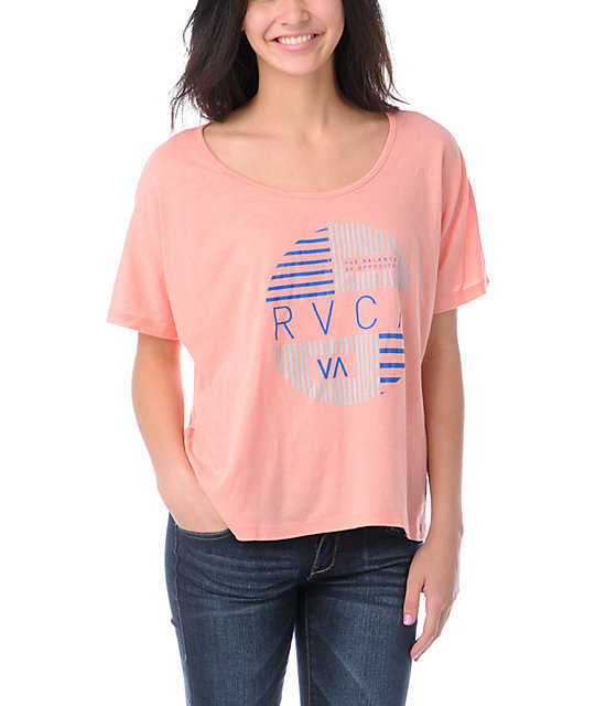 RVCA Blinds Coral Monster Crop T-Shirt