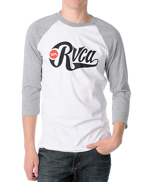 RVCA Bombers 2 White & Grey Baseball T-Shirt