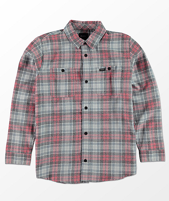 RVCA Boys Diffusion Red, Blue & White Flannel