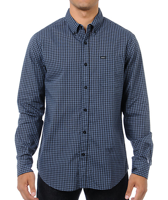 RVCA Brickley Blue & Black Plaid Button Up Shirt