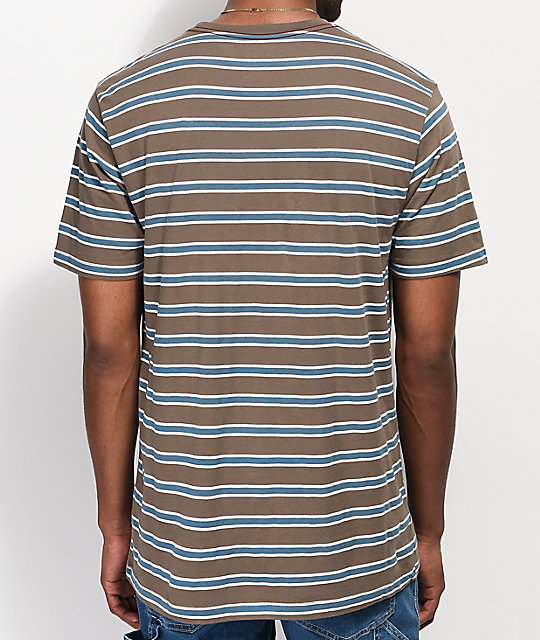 RVCA Brong Brown, White & Blue Striped T-Shirt
