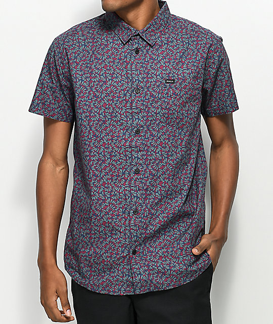 3880dbbc RVCA Brong Navy Floral Woven Short Sleeve Shirt