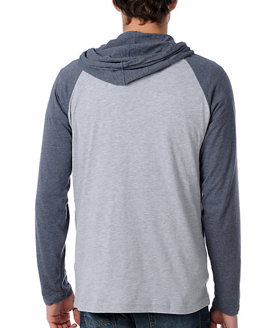 RVCA Castro Grey Raglan Hooded Shirt