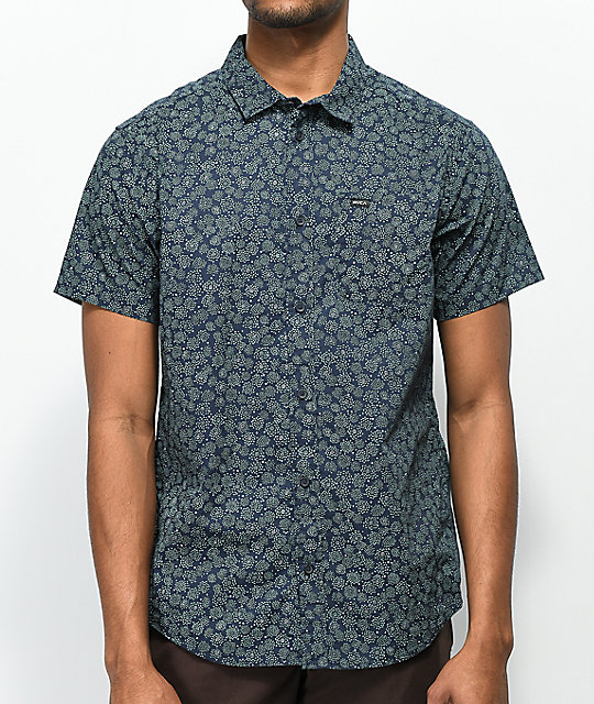 RVCA Cleta Navy & Mint Printed Short Sleeve Button Up Shirt