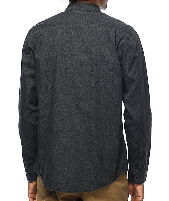 RVCA Cluster Black Floral Long Sleeve Button Up Shirt