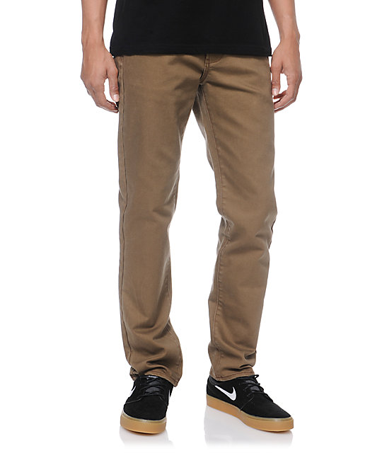 RVCA Daggers Coolmax Brown Slim Jeans