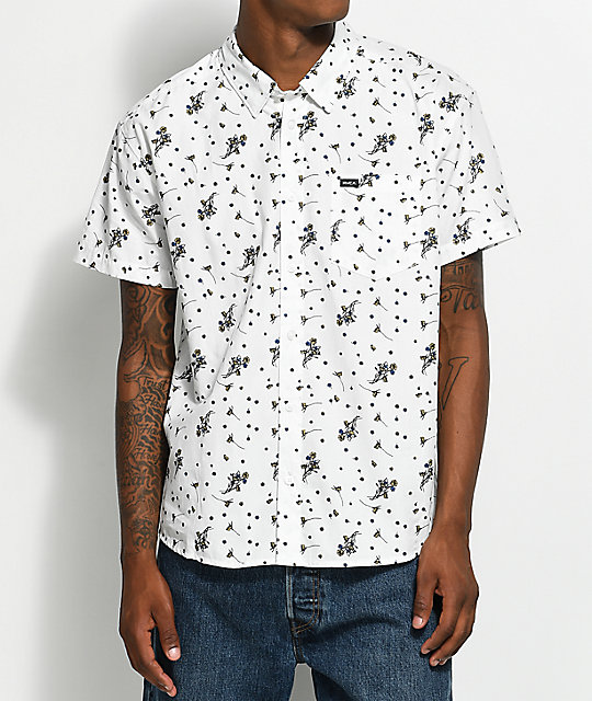 RVCA Dark Floral White Short Sleeve Button Up Shirt