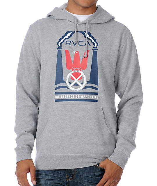 RVCA Dove Of Industry Grey Pullover Hoodie