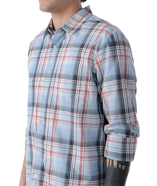 RVCA Ducky Blue Plaid Long Sleeve Button Up Shirt