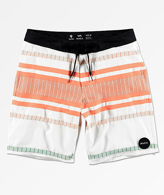 RVCA Elliot White, Orange & Blue Striped Board Shorts