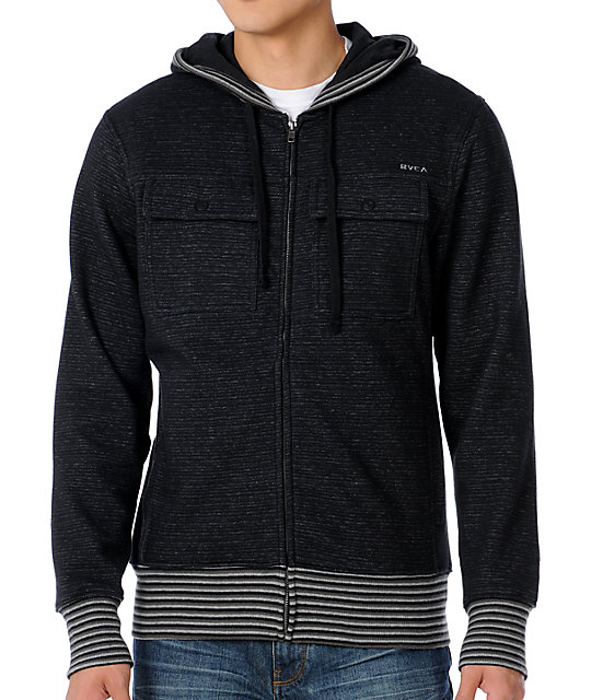 RVCA Emery Heather Black Stripe Hoodie