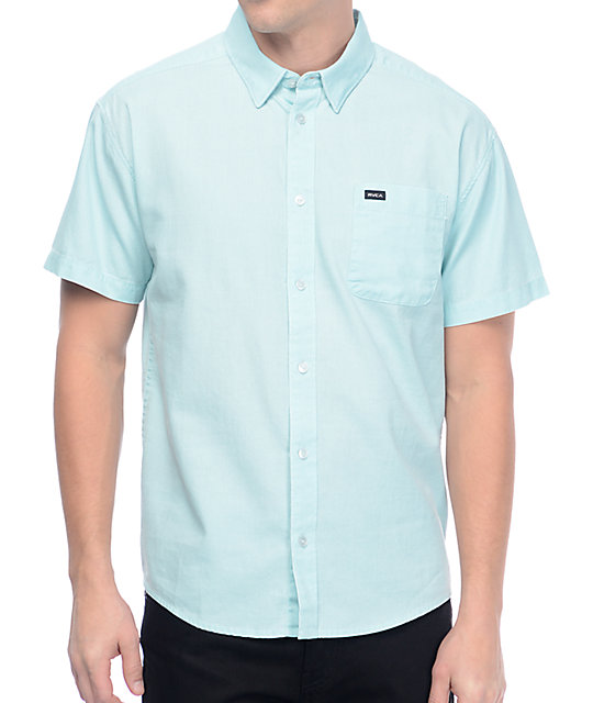 RVCA Front Lawn Bright Blue Short Sleeve Button Up Shirt
