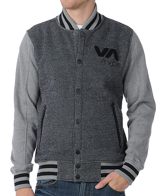 RVCA Going Steady Black & Grey Varsity Jacket