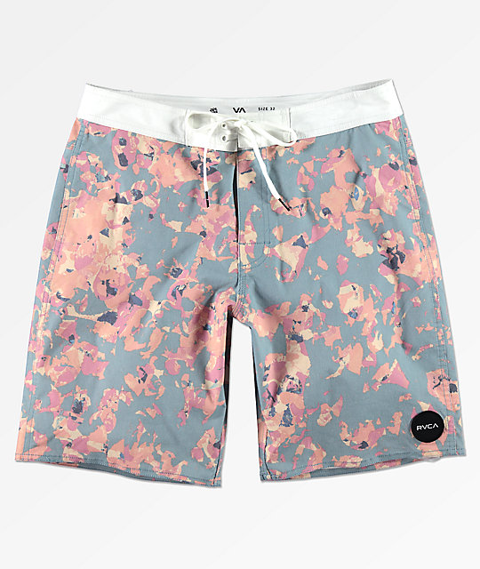 RVCA Granite Floral Light Blue & Pink Board Shorts