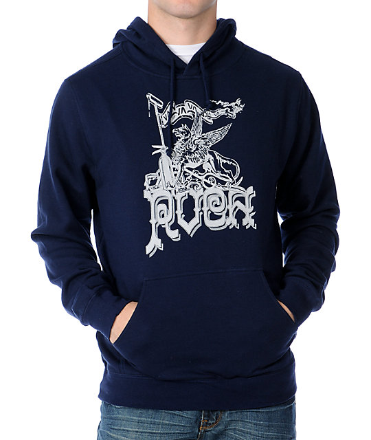 RVCA Griffin Mens Navy Pullover Hoodie