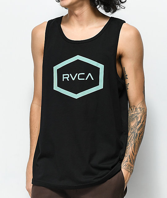 RVCA Hex Black & Mint Tank Top