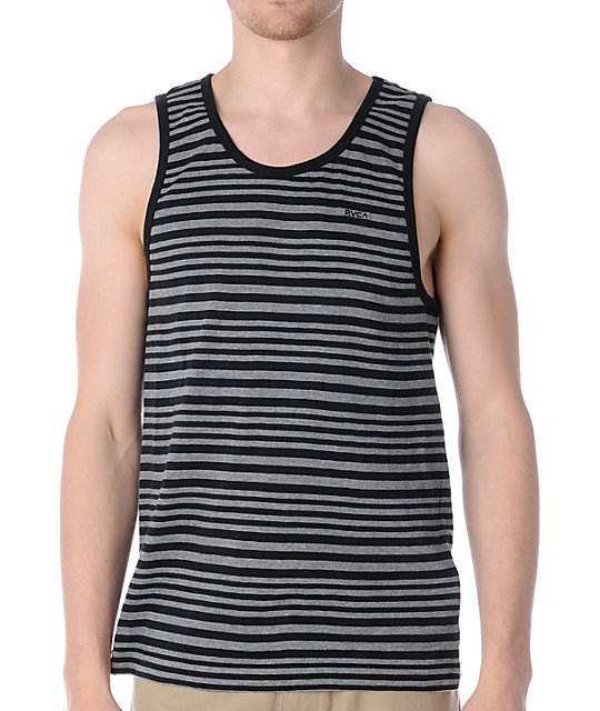 RVCA Jet Black Stripe Knit Tank Top