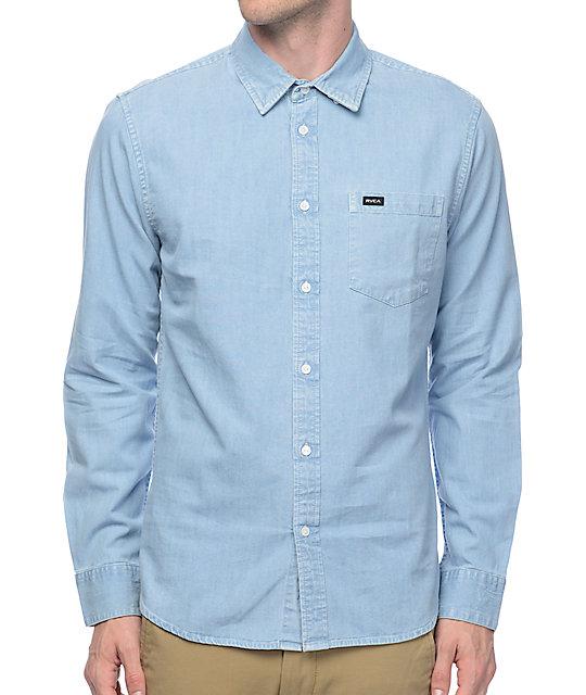 2114694328d RVCA Johnny Light Blue Denim Long Sleeve Button Up Shirt | Zumiez