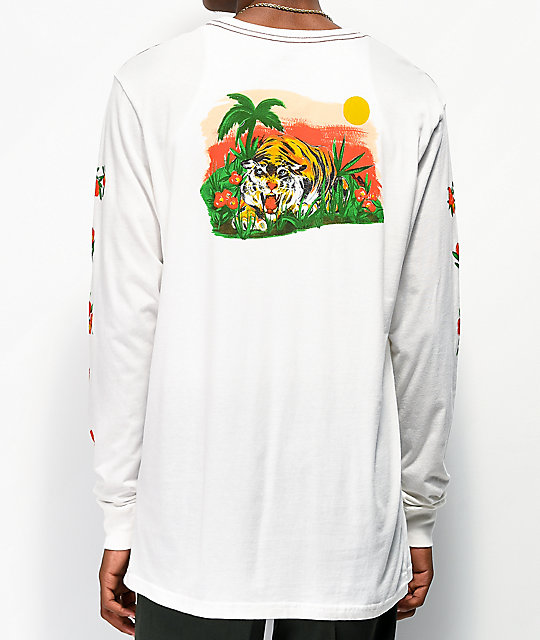 RVCA Jungle camiseta blanca de manga larga