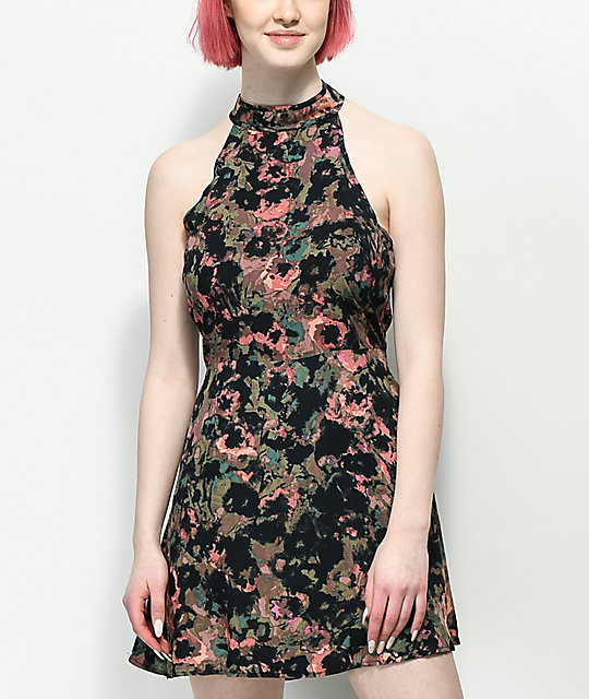 RVCA Kingsman Floral Mauve Dress
