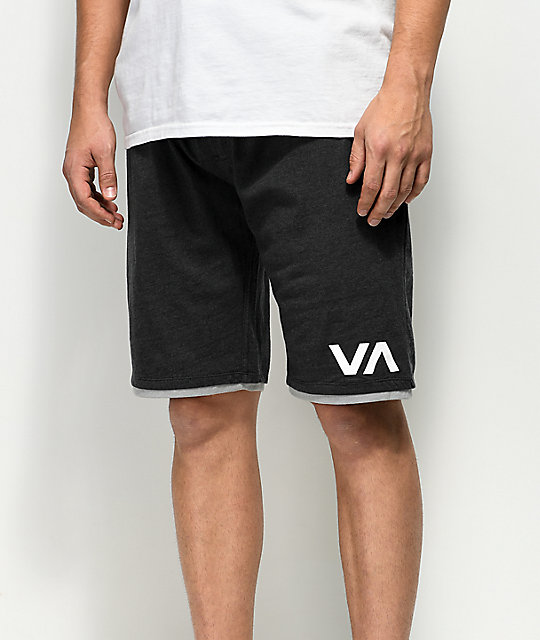 RVCA Layers II Heather Black Athletic Shorts