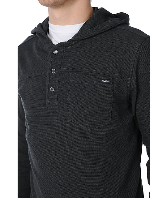 RVCA Lazy Cat Black Knit Hooded Shirt